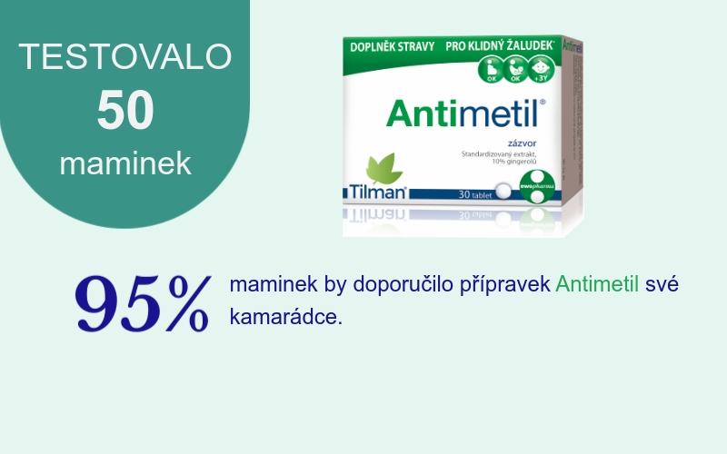 Výsledek testu Antimetil při těhotenské nevolnosti 1