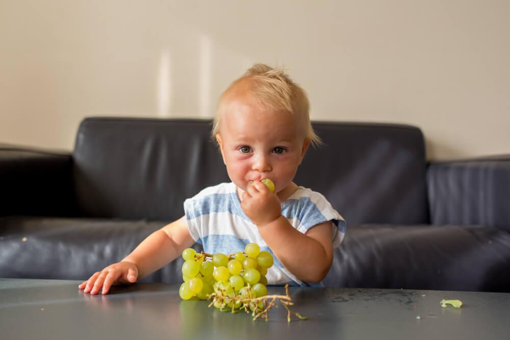 Dítě s hroznovým vínem