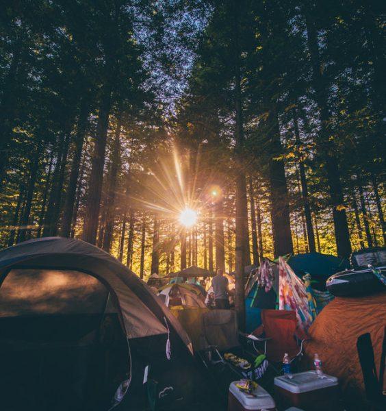 Západ slunce v lese a rodinné táboření