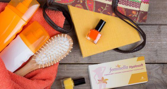 feminella hyalosoft, kartáč, laky na nehty, kabelka